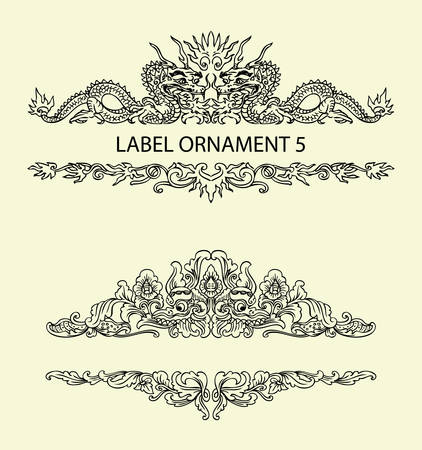 Label ornament 5. Black floral ornament with blank space. Easy to use, edit, or change color.