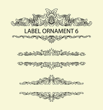 re: Label ornament 6. Black floral ornament with blank space. Easy to use, edit, or change color. Illustration