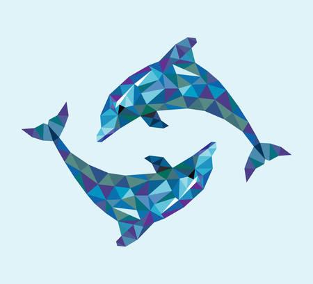 Dolphin trójkąt niskie styl wielokąta. Ładne i czyste wektorowych. Dobre wykorzystanie dla Twojej symbol, maskotki, ikony internetowej, avatar, naklejki, lub jakiegokolwiek projektu, który chcesz. Łatwy w użyciu. Ilustracje wektorowe