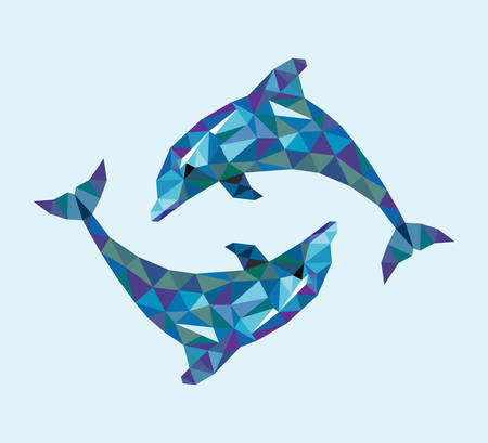 dolphins: Dolphin triangle low polygon style. Nice and clean vector. Good use for your symbol, mascot, website icon, avatar, sticker, or any design you want. Easy to use.