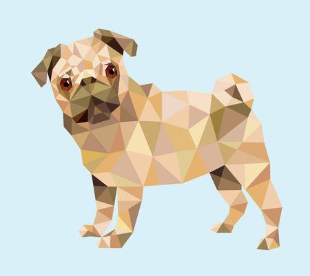 Pug dog triangle low polygon style vector. . Good use for your symbol, website icon, mascot, sticker, or any design you want. Easy to use.