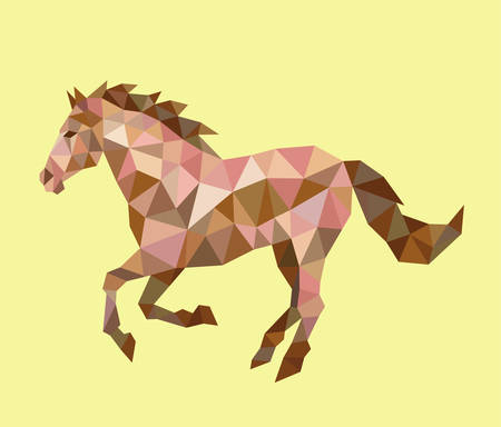 Running Horse triangle low polygon style. Nice, colorful and clean vector. Good use for your symbol, mascot, Chinese zodiac, website icon, avatar, sticker, or any design you want. Easy to use.