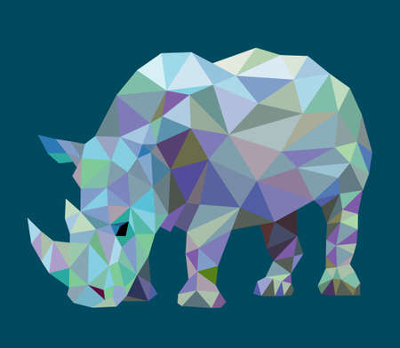 Rhinoceros animal with triangle low polygon style. Nice, colorful and clean vector. Good use for your symbol, mascot, Chinese zodiac, website icon, avatar, sticker, or any design you want. Easy to use.