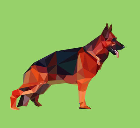good shepherd: German shepherd dog triangle low polygon style. Good use for logo, symbol, icon, or any design you want.