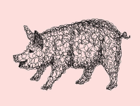 re: Pig abstract doodle style, animal black and white drawing. Good use for illustration, symbol, mascot, icon, or any design you want. Easy to use, edit, or change color.