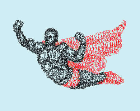 spontaneously: Flying superhero abstract curl doodle style. Black and red drawing. Good use for illustration, symbol, mascot, icon, or any design you want. Easy to use, edit, or change color.