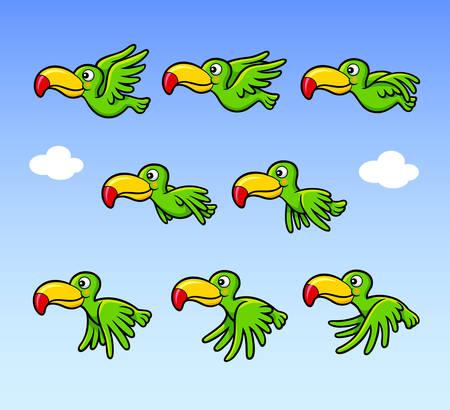 pajaro caricatura: Feliz que vuela la historieta del pájaro de sprites personaje del juego de hoja de activos. Usted puede usar para la animación de la bandera, juegos, o cualquier diseño que desee.