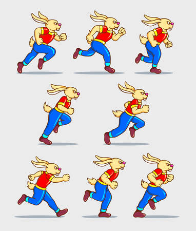 Running rabbit cartoon character sprite sheet game asset. You can use for sport animation, games, or any design you want. Easy to use.