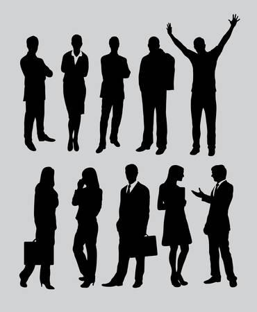 男性と女性のビジネス人々 の活動のシルエット  イラスト・ベクター素材
