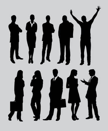 Male and female business people activity silhouettes