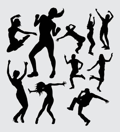 Mannelijke en vrouwelijke aërobe activiteit dacing silhouetten Stockfoto - 44245740