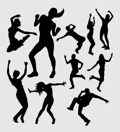 Male and female people aerobic dacing activity silhouettes
