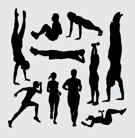 Male and female people sport training activity silhouettes