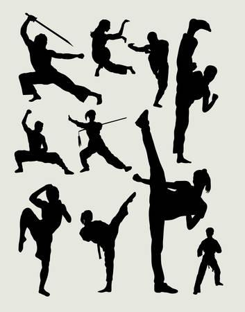 男性と女性の武術、カンフー、武術、太一、空手、テコンドー活動シルエット  イラスト・ベクター素材