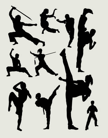 Male and female martial art, kungfu, wushu, taichi, karate, taekwondo activity silhouettes