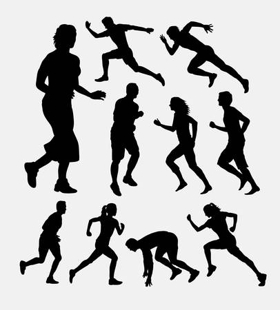 People running silhouettes