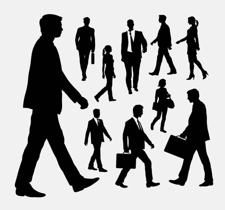 business people walking: People walking silhouettes