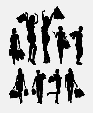 silhouette woman: Shopping people silhouettes