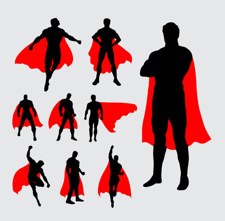 vector artwork: Male superhero silhouettes