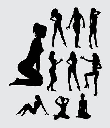 pose:   girl silhouettes
