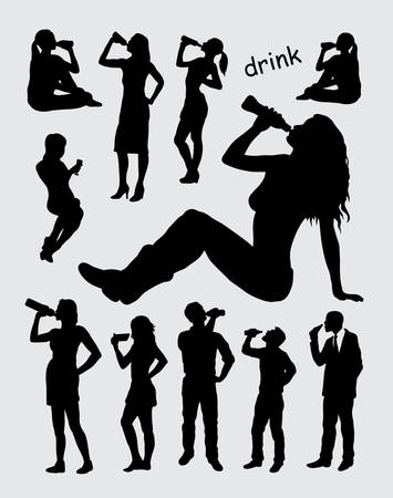 girl drinking water: Drinking male and female silhouettes