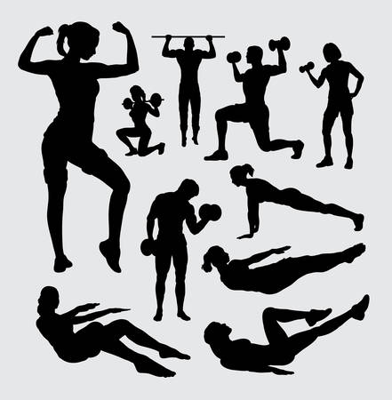 man working out: Fitness sport male and female silhouette