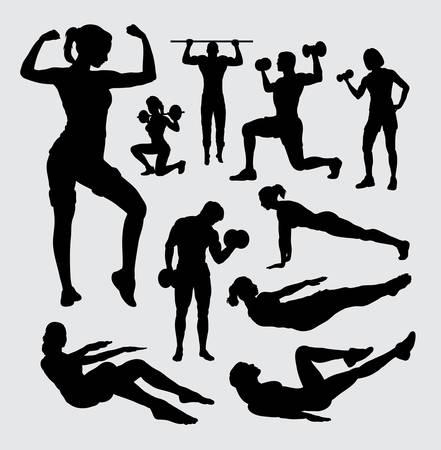 Fitness sport mannelijke en vrouwelijke silhouet Stockfoto - 44350064