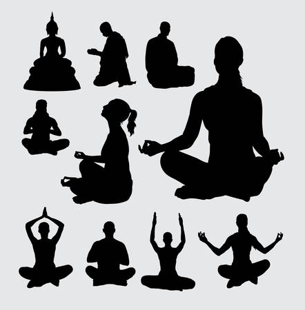 buddhist: Meditation people silhouettes
