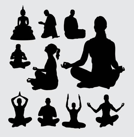 meditates: Meditation people silhouettes