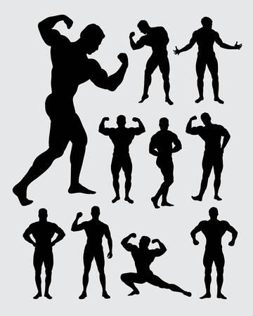 Bodybuilder muscular guy silhouettes