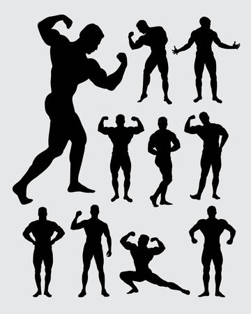 Bodybuilder muscular guy silhouettes