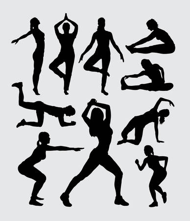 body curve: Aerobic women fitness sport silhouettes Illustration