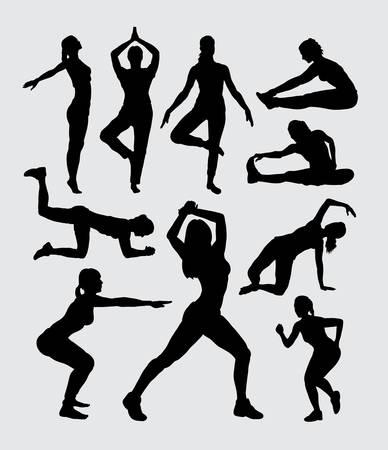 siluetas de mujeres: Mujeres aeróbicos aptitud deporte siluetas Vectores
