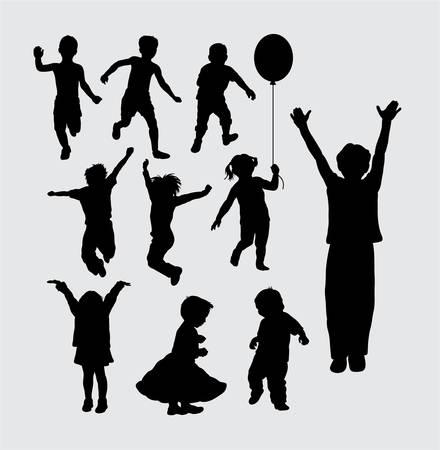 Kid spelen silhouetten Stockfoto - 44350069