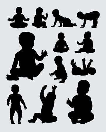 Baby activity silhouettes Stock Illustratie