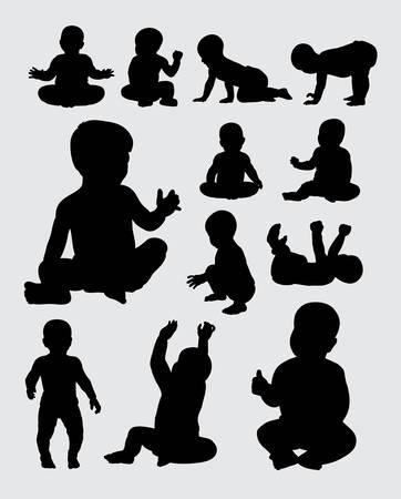 bebe gateando: Siluetas de actividad del bebé