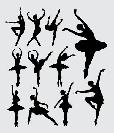 Ballet vrouw danser silhouetten Stockfoto - 44350074