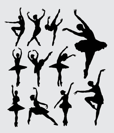 Ballet woman dancer silhouettes