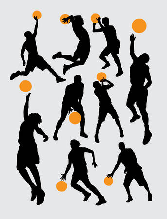 sport man: Basketball sport silhouettes
