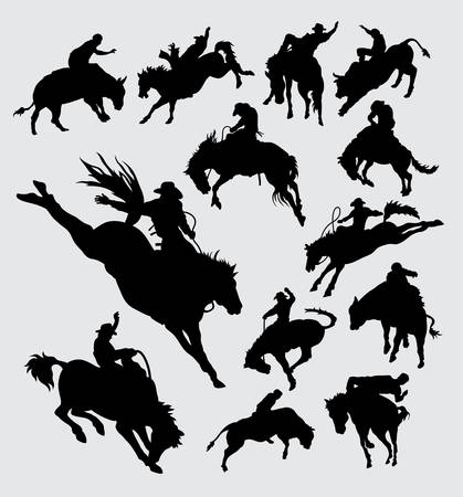 Rodeo cowboy riding animal silhouettes