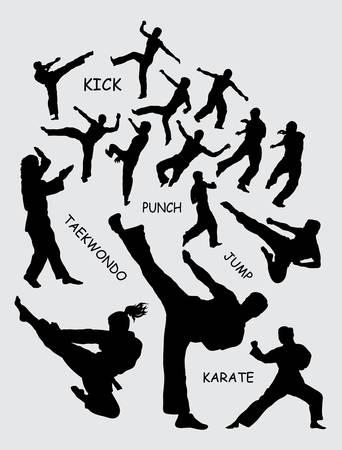 Taekwondo martial art silhouettes Ilustração