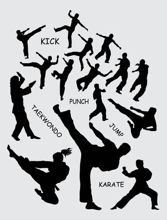 Taekwondo martial art silhouettes Stock Illustratie