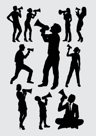 Attractive people with megaphone silhouettes