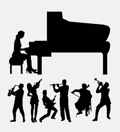 symphonic: Musical instrument male and female player Illustration