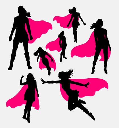 silhouette femme: Femme silhouettes de super-héros Illustration