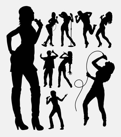 Singer male and female people silhouettes Stock Illustratie
