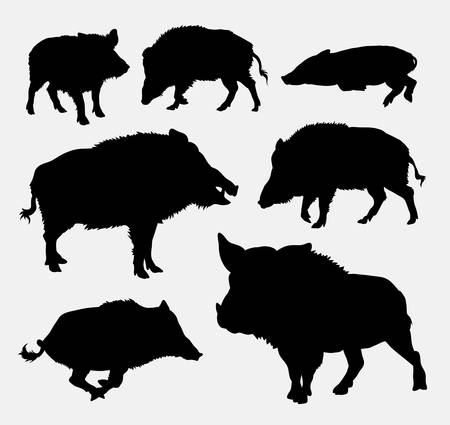 pig tails: Wild boar silhouette Illustration