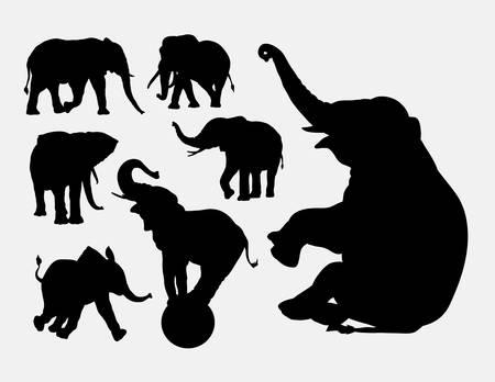 siluetas de elefantes: Siluetas de animales elefante Vectores
