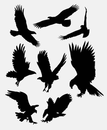 Eagle flying silhouettes