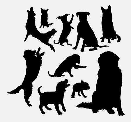 Dog and puppy animal silhouettes Vectores